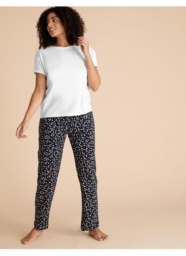 Marks & Spencer Saf Pamuklu Desenli Pijama Takımı Lacivert